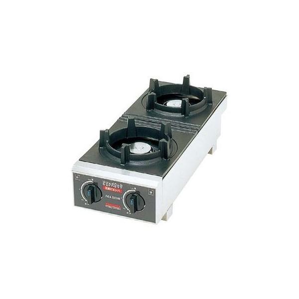 山岡金属 石焼きビビンバ専用コンロ ビビンバガッツ2(2口) SPK-572 220×600×H206 LPガス仕様