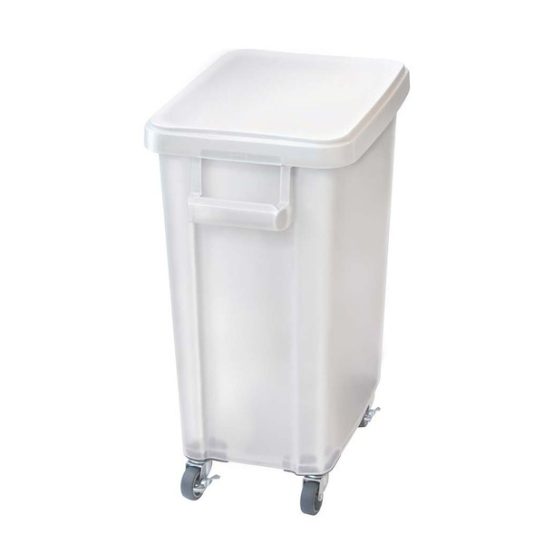 トンボ社製 厨房用キャスターペール 排水栓付 70L ナチュラル 570×350×695