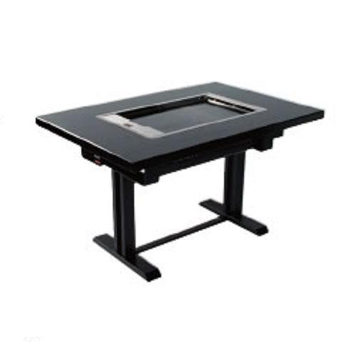 山岡金属 TBGT型 鉄板テーブル(洋卓・スチール脚・天板・黒) TBGT3690STG-LFA114-T18A 1800・800・H700(mm) 都市ガス仕様