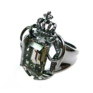 茶水晶 エンブレムデザイン ブラック リング/指輪/黒/SV925/シルバー/スモーキークォーツ/ブラックロジウム/送料無料/メンズ/楽ギフ_包装