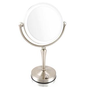 拡大鏡 5倍拡大+等倍鏡+LEDライト付き 真実の鏡DX 両面Z型 ブロンズ調 人気No.1 両面型 を真鍮仕上げで高級感UP+指紋も付きにくい シミ・しわ・たるみ・毛穴が驚くほど良く見える拡大鏡をくるっと返せば等倍鏡でとっても便利!
