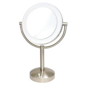 拡大鏡★5倍拡大+等倍鏡+LEDライト【調光機能付】真実の鏡DX 両面ビッグ型 ブロンズ調 大きめ18cm 真鍮仕上げで高級感UP+指紋も付きにくい!シミ・しわ・たるみ・毛穴が驚くほど良く見える拡大鏡を、くるっと返せば等倍鏡でとっても便利!