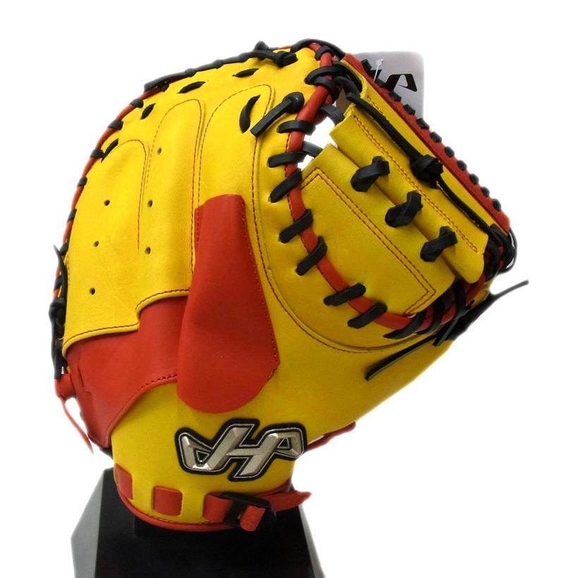 【限定商品】 HATAKEYAMA(ハタケヤマ) 一般軟式キャッチャーミット 捕手用 右投げ用 シェラームーブ (D)イエロー×レッド PRO-288