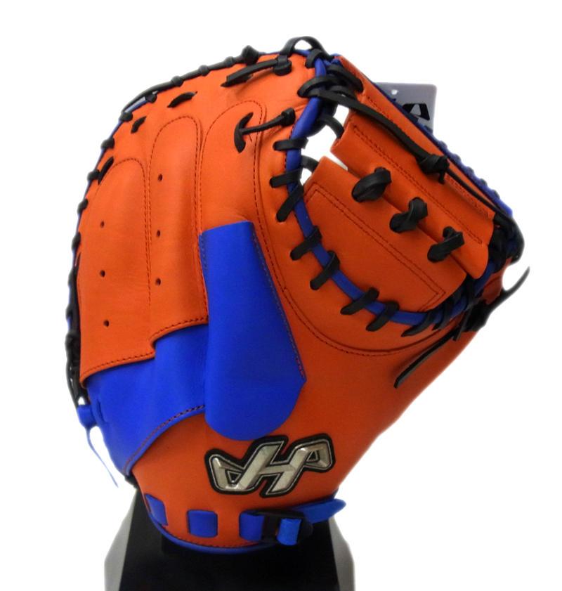 【限定商品】 HATAKEYAMA(ハタケヤマ) 一般軟式キャッチャーミット 捕手用 右投げ用 シェラームーブ (E)Vオレンジ×ブルー PRO-288