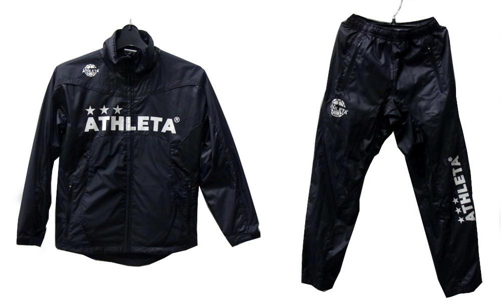ATHLETA(アスレタ) ジュニア 裏メッシュ ウインドブレーカースーツ 上下セット (BLK) 【YW-126】 [サッカー/フットサルウェアー]