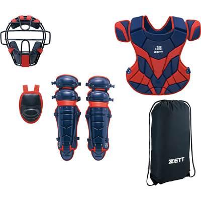 ZETT(ゼット) 軟式キャッチャー防具4点セット (2964A)ネイビー/レッド BL338 [野球/キャッチャー防具]