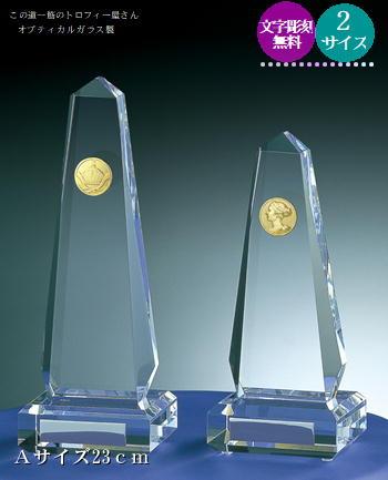 【送料無料】クリスタルブロンズ(23cm)★文字彫刻無料★選べるコイン★