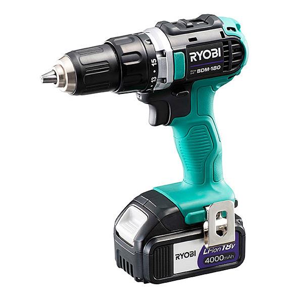 RYOBI(リョービ) 充電式ドライバドリル BDM-180 688802A(電池パックB-1840L×2本・充電器UBC-1800L・ケース付) (A)