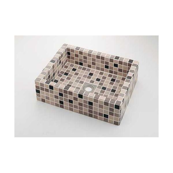 (送料無料(一部地域除く)・代引不可)カクダイ 角型洗面器 ブラウンミックス 493-143-BM (L)