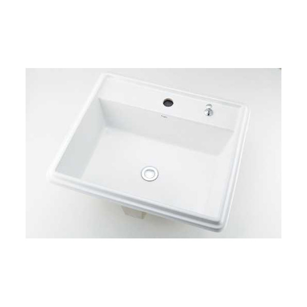 (送料無料(一部地域除く)・代引不可)カクダイ 角型洗面器 1ホール・ポップアップ独立つまみタイプ 493-151H (L)