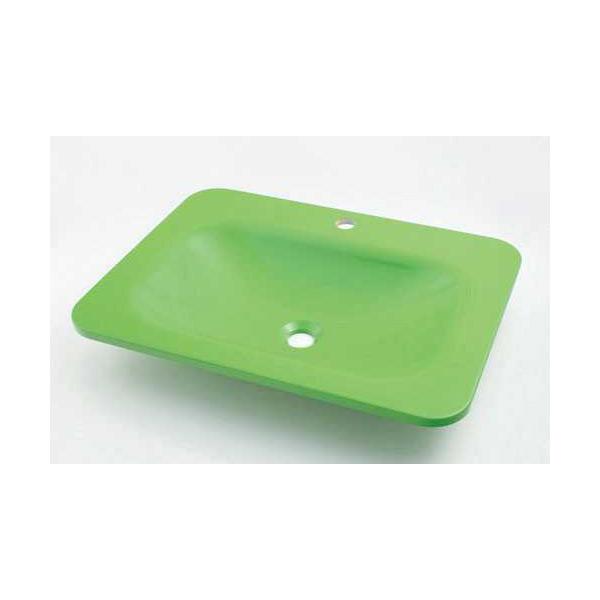 (送料無料(一部地域除く)・代引不可)カクダイ 角型洗面器 アップルグリーン #MR-493220GR (L)