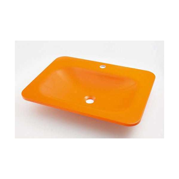 (送料無料(一部地域除く)・代引不可)カクダイ 角型洗面器 ゴールデンオレンジ #MR-493220Y (L)