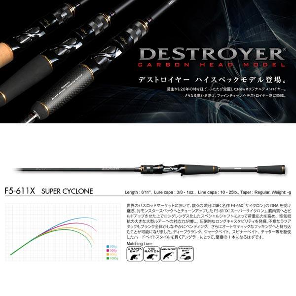 メガバス デストロイヤー カーボンヘッドモデル F5-611X スーパーサイクロン 【大型商品】 【お取り寄せ対応商品】