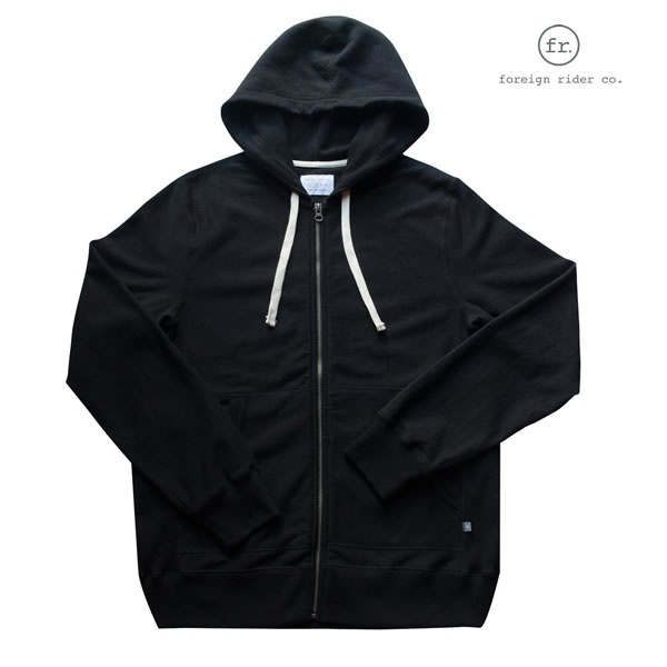 foreign rider(フォーリンライダー)full zip hooded jacket/フルジップスウェットパーカー/カラー:BLACK【frblkfzh-black】