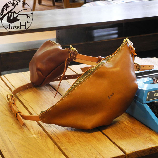 【オーダー商品※発送まで3~5営業日】◆slowH(スロウエイチ)◆小さめでシンプルなレザーウエストバッグ 『Spoon』2カラー【SH179】◆