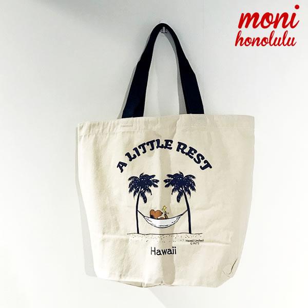 ハワイ発『Moni Honolulu(モニホノルル)』A Little Rest/日焼けスヌーピー トートバッグ【moho029-white】