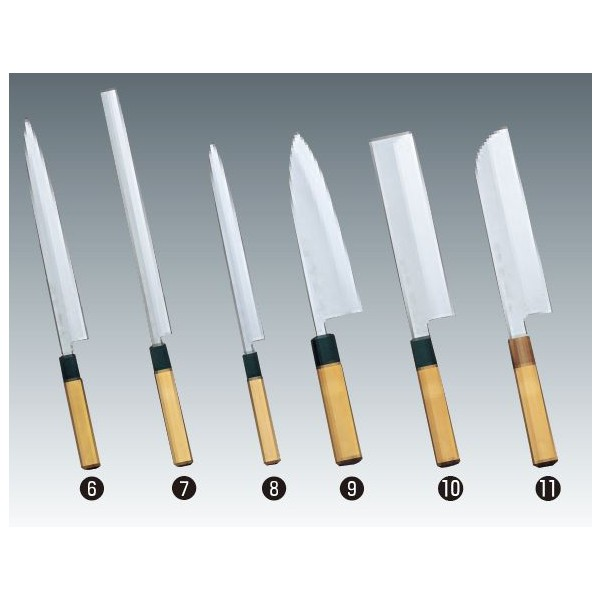 堺菊守 和包丁 本焼 (水牛八角柄) 鎌型薄刃 (関西型) 210mm 業務用包丁