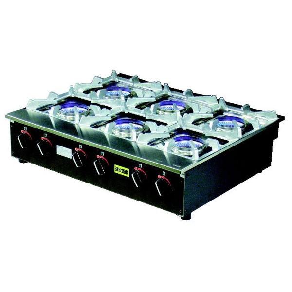 (株)建厨 強火道楽(ステンレス内炎式バーナー) KNB-6 690×570×H179 LPガス仕様 火力三段切替え
