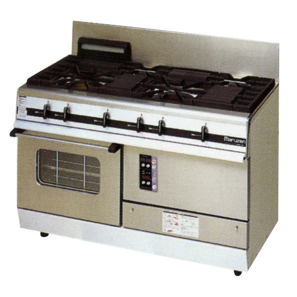 マルゼン パワークックガスレンジ/ガステーブル(4口コンロ) MGRXU-126E (MGRXU-126D) W1200・D600・H800・B200 都市ガス仕様