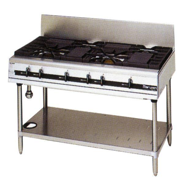 マルゼン パワークックガスレンジ/ガステーブル(4口コンロ) MGTXU-126E W1200・D600・H800・B200 LPガス仕様