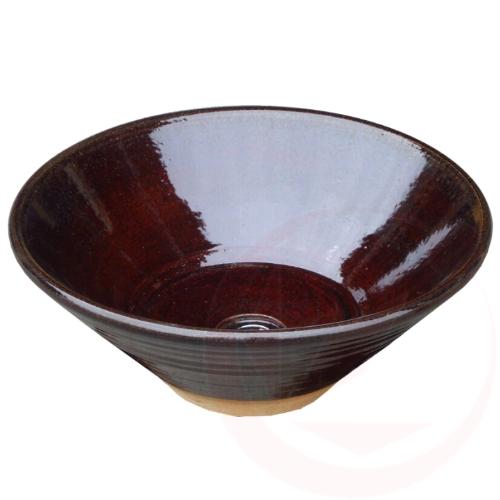 【送料無料】【代引不可】【メーカー直送】陶器の水鉢×あめ釉(寒冷地仕様 和風ガーデニングパン)
