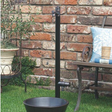 【送料無料】【代引不可】【メーカー直送】ガーデン水栓柱のみ ジラーレW×ブラックブロンズメッキ 2口水栓