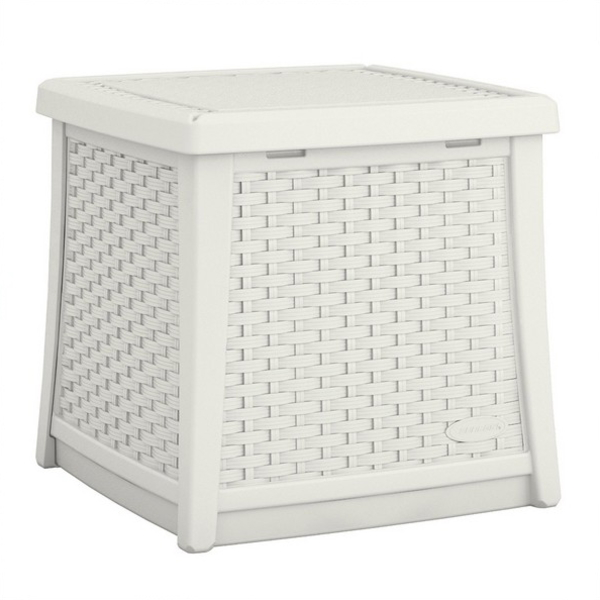【代引不可】【メーカー直送】ガーデンファニチャー ラタン調 テーブルボックスS (ホワイト) TO3-BMDB1300W