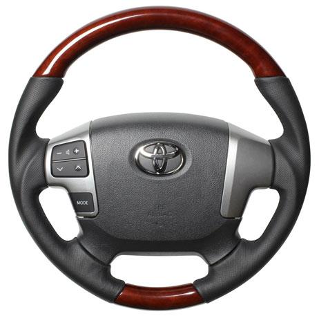 【REAL レアルステアリング オリジナルシリーズ】トヨタ 200系 4型 ハイエース/レジアスエース(2013年12月~) ガングリップ ブラウンウッド