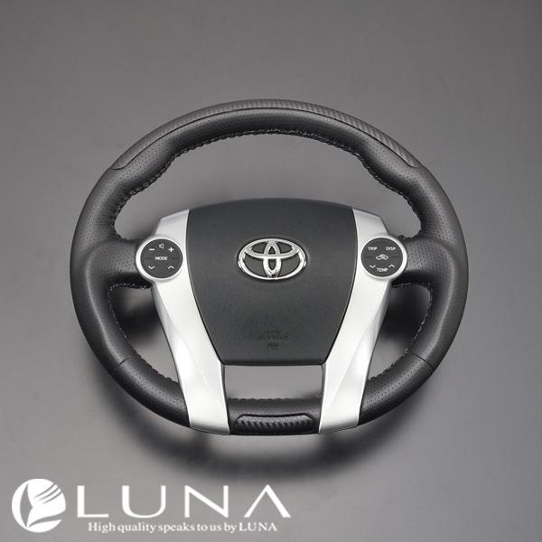 【LUNA ステアリング】トヨタ プリウスα ZVW40系 リアルカーボンルック ガングリップ ステアリング