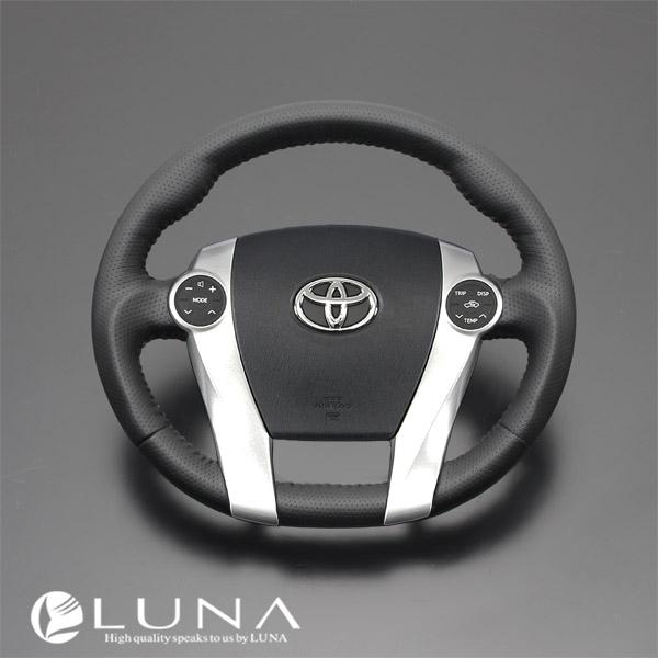 【LUNA ステアリング】トヨタ アクア NHP10系 オールレザーステアリング ブラックレザー レッドスティッチ ガングリップ