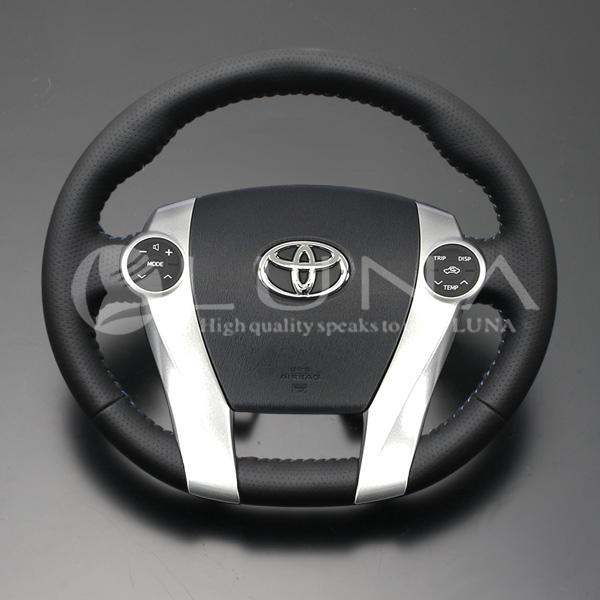 【LUNA ステアリング】トヨタ プリウスα ZVW40系 オールレザーステアリング ブラックレザー ブルースティッチ スタンダード