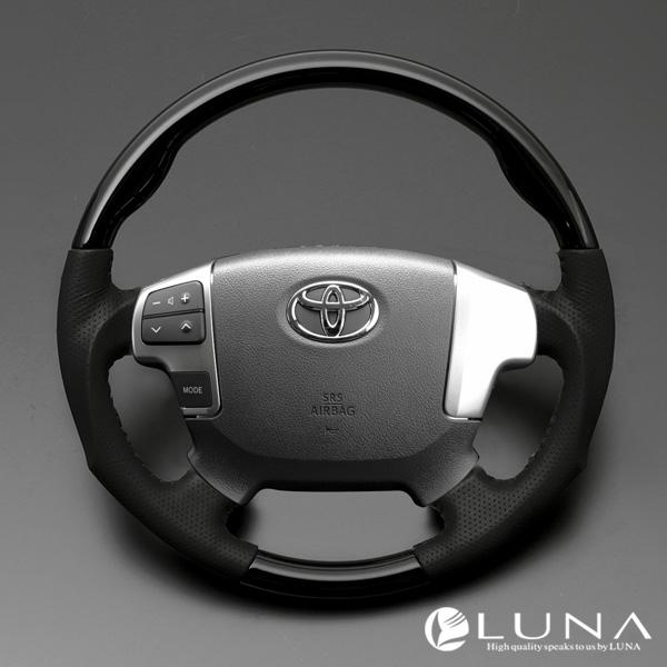 【LUNA ステアリング】トヨタ ハイエース 200系 4型 ウッド&レザーステアリング ピアノブラック ガングリップ/スタンダードグリップ