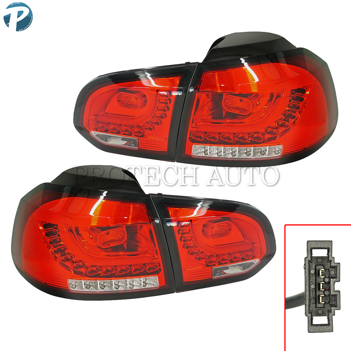 VW フォルクスワーゲン Golf VI ゴルフ6 LED テールランプ/テールライト/テールレンズ バックフォグランプ付き 左右セット 2009年式以降【】