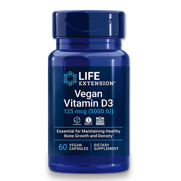 紫外線で合成されるビタミンDを効率よく摂取できるサプリメント ヴィーガン ビタミンD3 125mcg 売店 5 000IU Life 2ヶ月分 Extension 60粒 ライフエクステンション メーカー直売