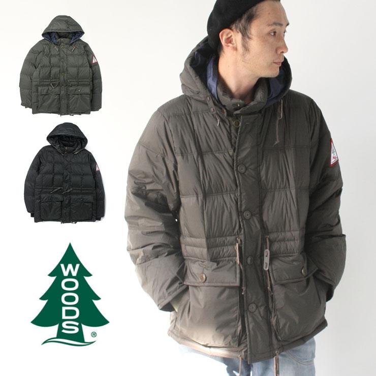ダウンジャケット メンズ 大きいサイズ ウッヅ WOODS フード付き ダウン ジャケット Hooded Puffy Jacket 2C5-9824 アウター メンズ アウトドア 防寒 秋 冬 秋冬