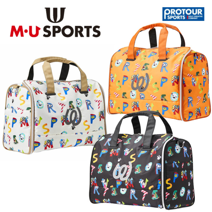 MU SPORTS エム ユー スポーツ ロゴ総柄プリント ボストンバッグ 703C1204