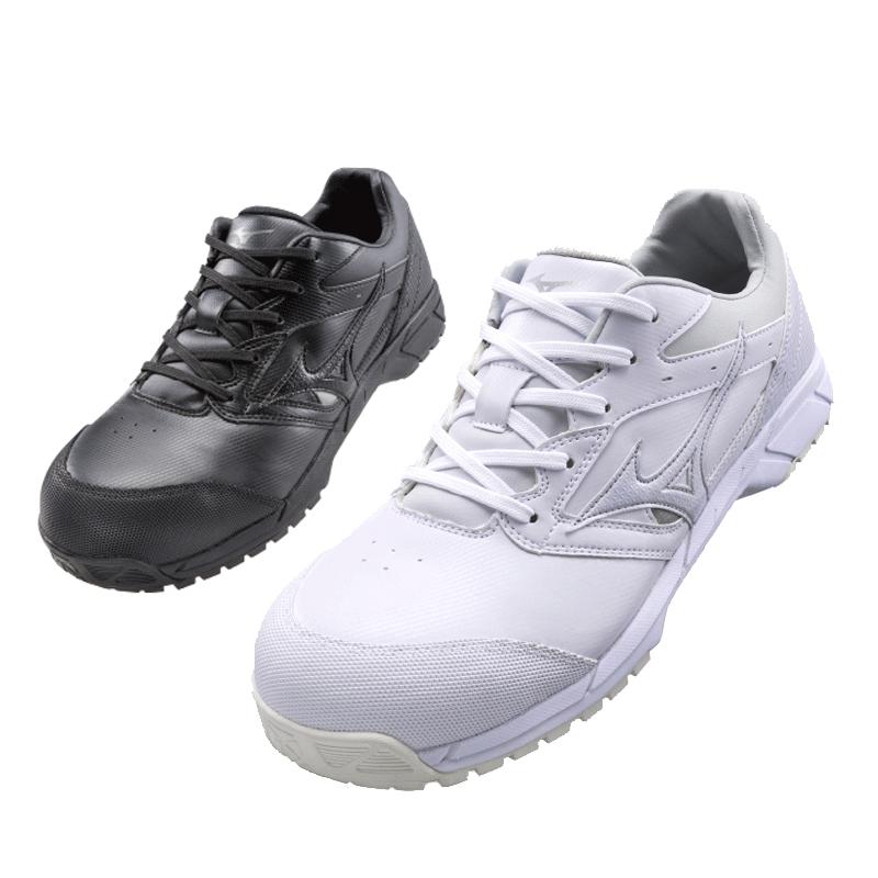 ミズノ(MIZUNO) C1GA1710 オールマイティCS /22.5~28.0・29.0cm ホワイト ブラック 白 黒 安全靴 スニーカー ローカット 靴紐 靴ひも JSAA規格A種 軽量 人工皮革 メンズ セーフティシューズ【メーカー在庫確認・お取り寄せ品】