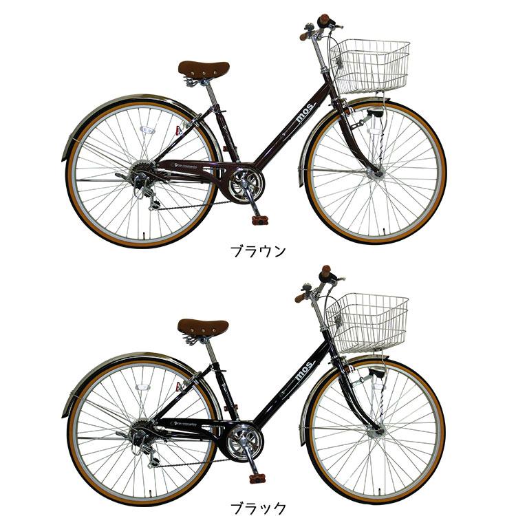 【2014年モデル】シティサイクル27インチ自転車1995円追加で荷台スタンド付MOS【モース】BAAで安心V型フレームシマノ6段変速LEDオートライト通勤通学