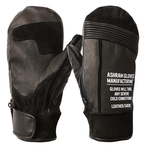 18 19 Ashram Gloves RALPH PAPA black アシュラム グローブ ラルフパパ ブラック ミトン メンス レディース スノーボード スキー 牛革 革 防水 手袋 国内正規品