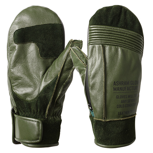 18 19 Ashram Gloves RALPH PAPA olive アシュラム グローブ ラルフパパ オリーブ ミトン メンス レディース スノーボード スキー 牛革 革 防水 手袋 国内正規品