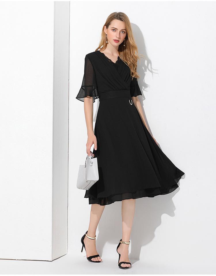 ●L~6L★大きいサイズ Vネック 上質シフォン ドレス シンプルワンピース七五三 パーティー 結婚式 二次会 五分袖 きれいめワンピース