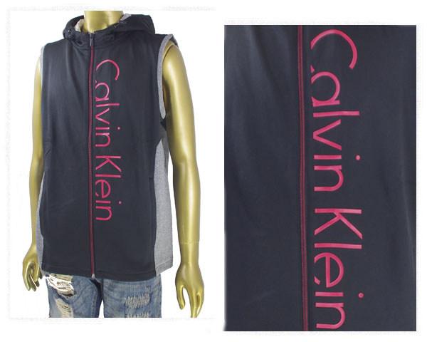 CALVIN KLEIN カルバンクライン Zip-Front Logo Hoodie ジャージタイプ フード ベスト メンズ 【40F1282 ZIP】