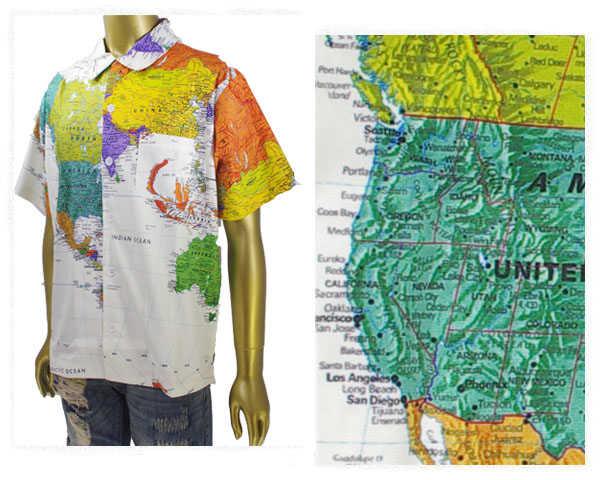 EYEDY アイディー 古着で人気があったカートコパーンが着用したワールドマップ柄デザインを復刻 オープンシャツ メンズ 【EYE-SH1801 マップ】