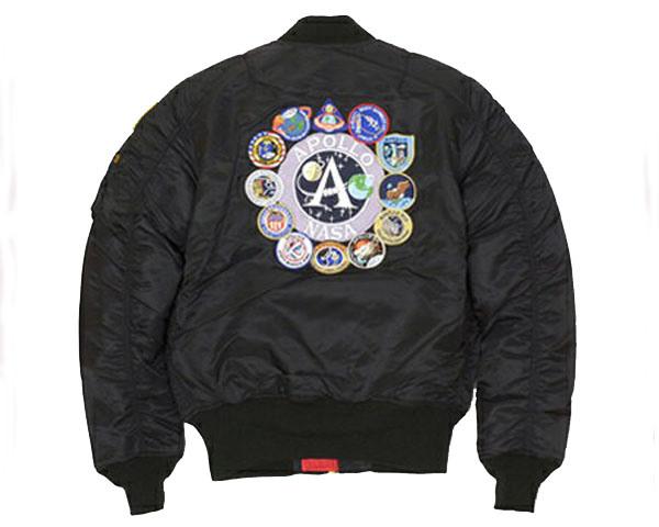 ALPHA INDUSTRIES アルファインダストリーズ NASA公認企画 アポロ計画のミッションをシンボル化したスペシャルパッチ MA-1 中綿ジャケット メンズ 【TA0113 001 NASA】