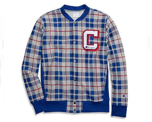 CHAMPION チャンピオン Reverse Weave Plaid Baseball Jacket スタジャン メンズ 【V3367 リバーウェーブ】