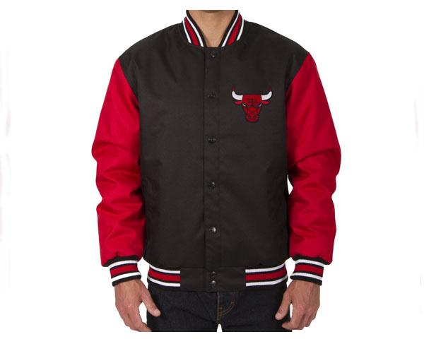 JH DESIGN ジェイエイチデザイン Chicago Bulls Poly-Twill Jacket (Front Logo Only) スタジャン メンズ 【C Bulls JK】