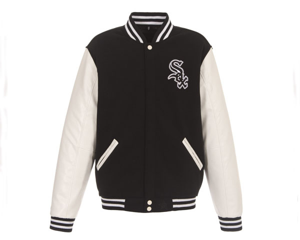 JH DESIGN ジェイエイチデザイン Chicago White Sox Reversible Fleece Jacket with Faux Leather Sleeves スタジャン メンズ 【C White Sox JK】