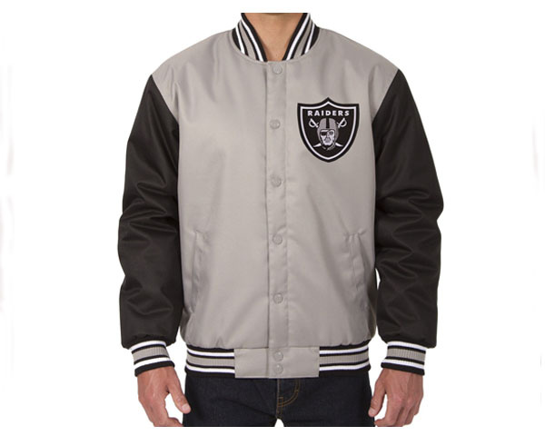 JH DESIGN ジェイエイチデザイン Oakland Raiders Poly-Twill Jacket (Front and Back Logo) スタジャン メンズ 【O Raide JK】
