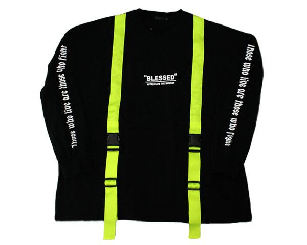 RINGS リングス オーバーサイズ 蛍光カラー ライムグリーン 年中無休 日本正規代理店品 ストラップ アクセデコレーション メンズ S 99ストラップ Tシャツ 110201 L