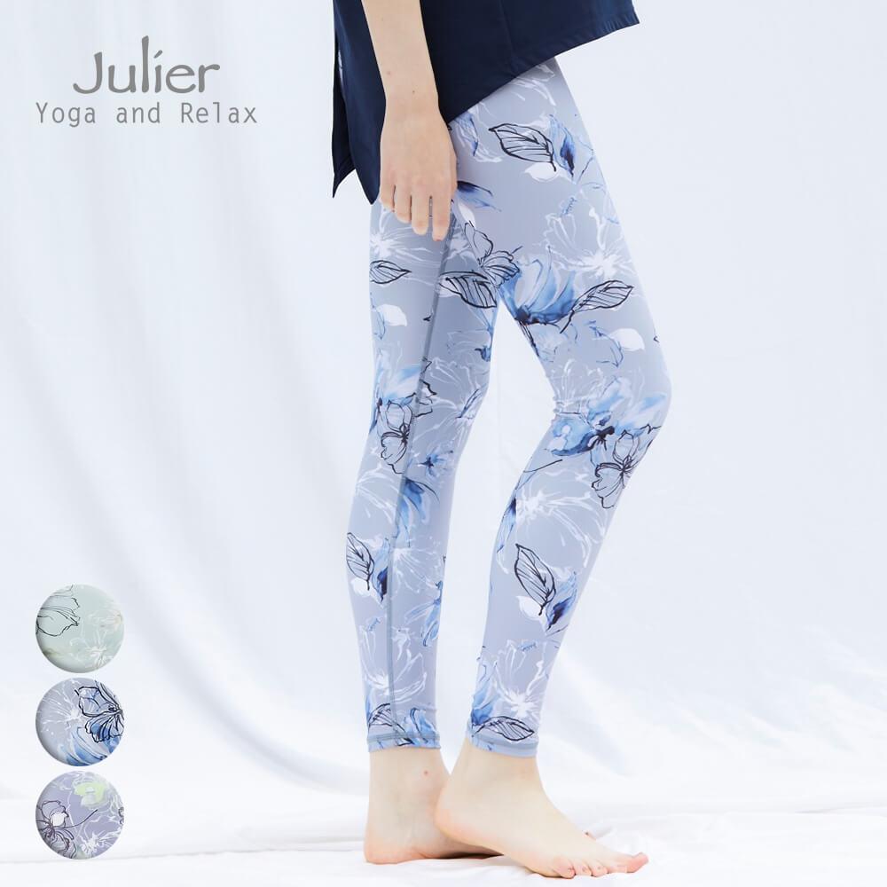 Julier ジュリエ ヨガウェア ヨガパンツ フェザープリントレギンス ホットヨガウェア レギンス